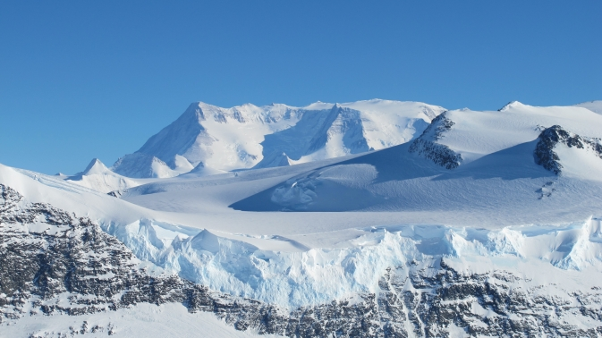 Ice on the Ellsworth Range in Antarctica as seen from the IceBridge DC-8 on Oct. 22, 2012.
