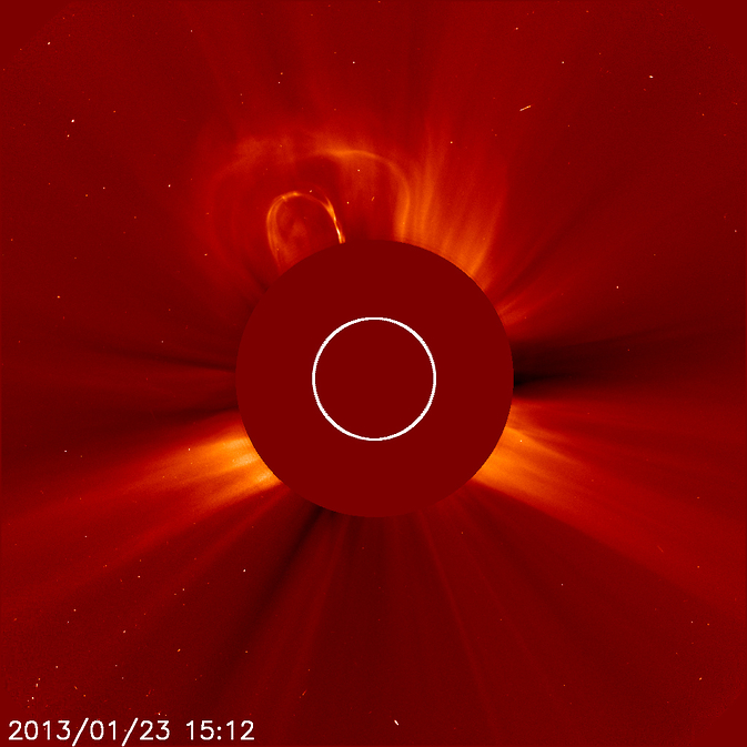 The second of two coronal mass ejections (CMEs) on Jan. 23, 2013.