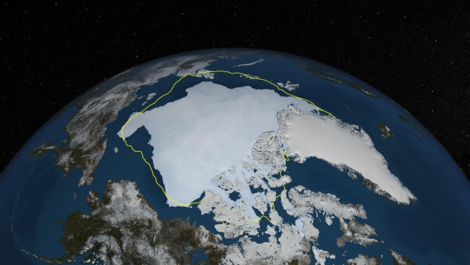 visualization of Arctic sea ice on 12 Sept. 2013, with yellow line illustrating 30-year average minimum extent