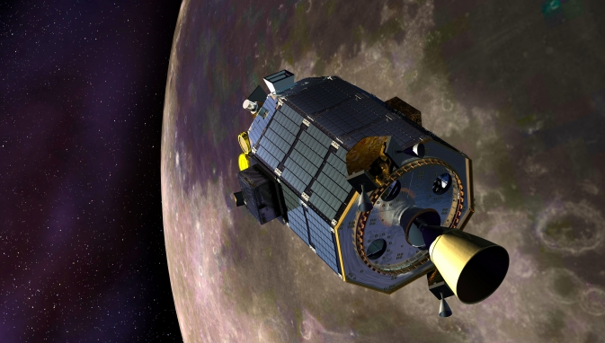 An artist's concept of NASA's Lunar Atmosphere and Dust Environment Explorer (LADEE) spacecraft orbiting the moon.