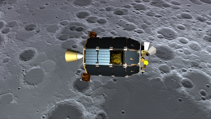 An artist's concept of NASA's Lunar Atmosphere and Dust Environment Explorer (LADEE) spacecraft seen orbiting near the surface of the moon.