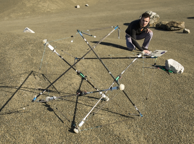 Tensegrity Bot in the Roverscape at Ames