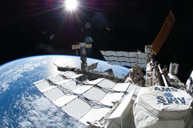 The Alpha Magnetic Spectrometer (AMS) experiment aboard the International Space Station.