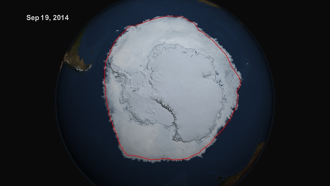 Sea ice surrounding Antarctica reached a new record high extent in 2014.