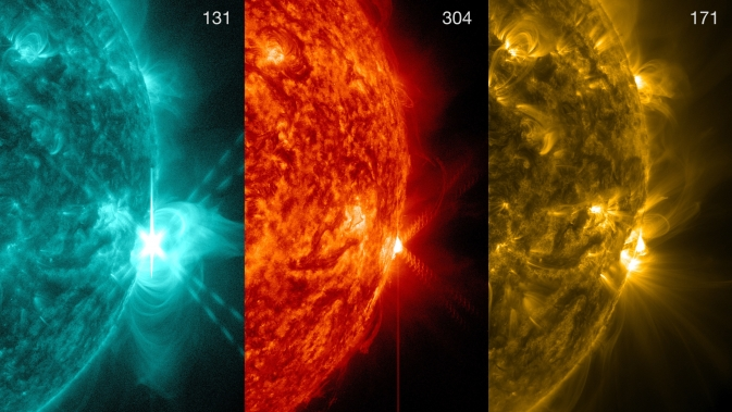 These three views of the X1.4 flare are in 131, 304 and 171 angstrom.