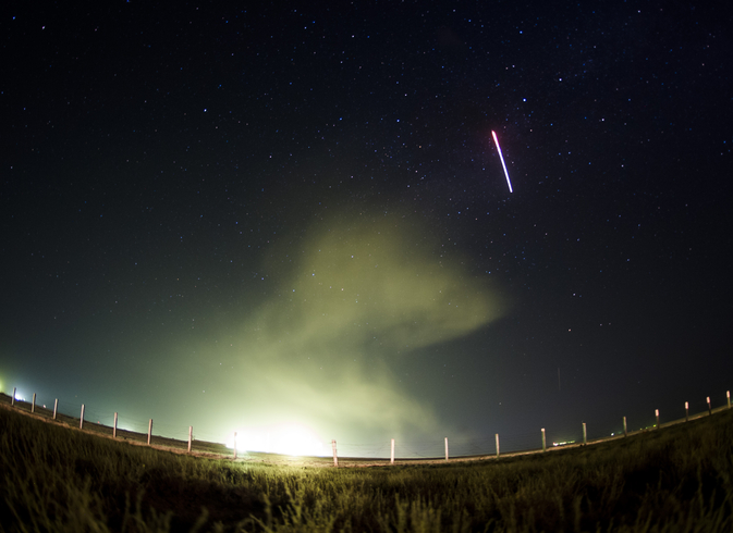 The Soyuz TMA-13M rocket is launched, as seen in this 30-second exposure, with Expedition 40 Soyuz Commander Maxim Suraev, of the Russian Federal Space Agency, Roscosmos, Flight Engineer Alexander Gerst, of the European Space Agency, ESA, and Flight Engineer Reid Wiseman of NASA, Thursday, May 29, 2014 at the Baikonur Cosmodrome in Kazakhstan. Suraev, Gerst, and Wiseman will spend the next five and a half months aboard the International Space Station.