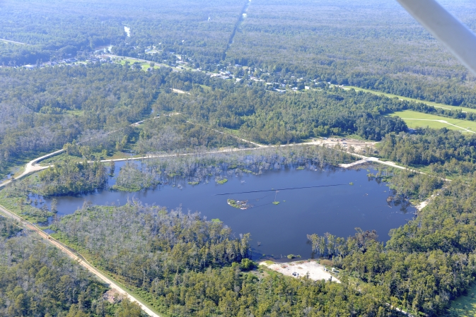 Aerial photo of a 25-acre sinkhole that formed unexpectedly near Bayou Corne, La., in Aug. 2012.