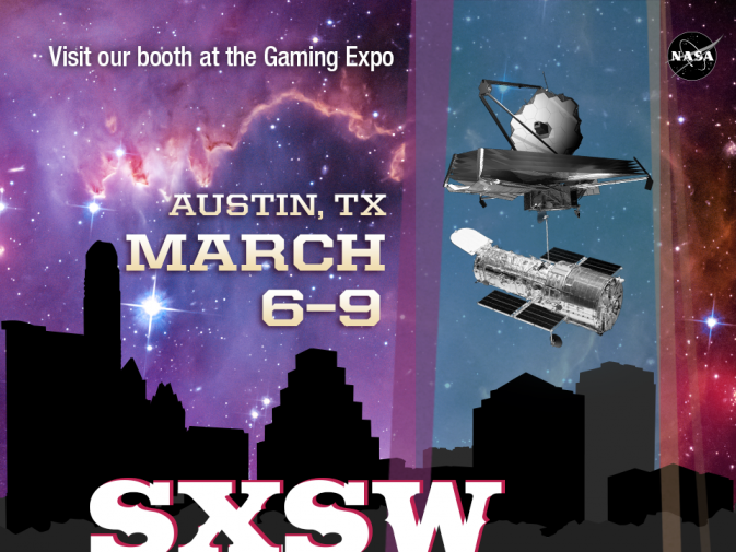 Visit the NASA booth at the Gaming Expo at SXSW in Austin, Texas on March 6-9.
