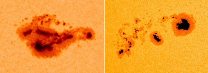 Two of the largest sunspots in the last nine years: left 2005; right 2014.