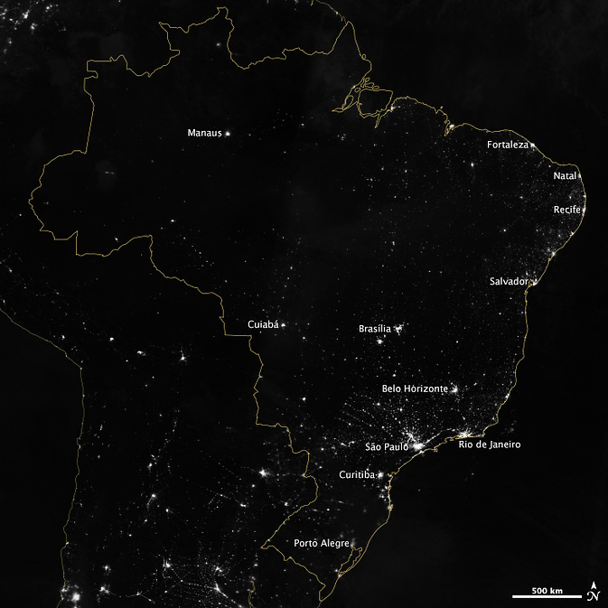 Brazil at night from Suomi NPP