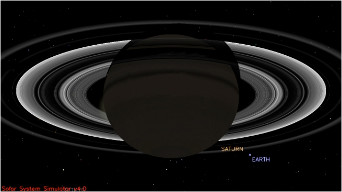 This simulated view from NASA's Cassini spacecraft shows the expected positions of Saturn and Earth on July 19, 2013, around the time Cassini will take Earth's picture