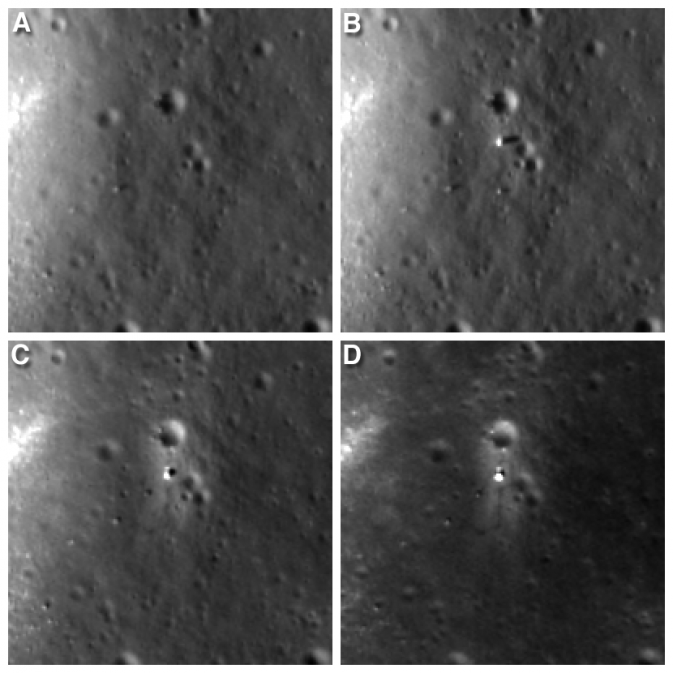 Four LRO views of Chang'e landing site