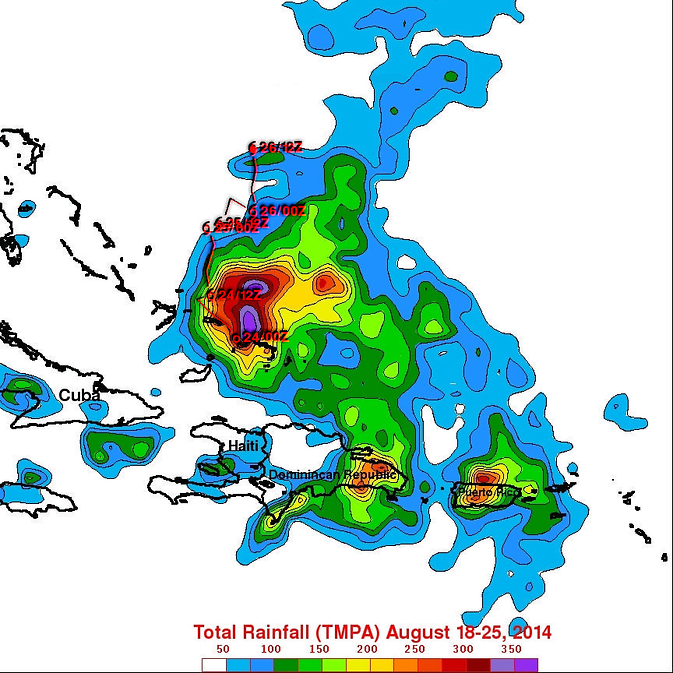 TRMM satellite rainfall map of Cristobal