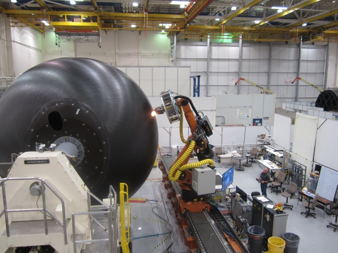The 18-foot-diameter (5.5-meter) cryogenic propellant tank, currently being manufactured at the Boeing Developmental Center in Tukwila, Wash., will be one of the largest composite propellant tanks ever made and is scheduled to be pressure tested in 2014 at NASA's Marshall Space Flight Center.