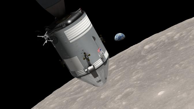 Visualization Apollo 8 spacecraft in lunar orbit with Earth on horizon