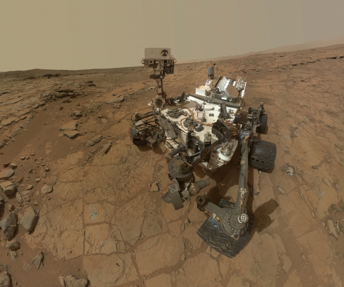 This self-portrait of NASA's Mars rover Curiosity combines dozens of exposures taken by the rover's Mars Hand Lens Imager (MAHLI) on Feb. 3, 2013, plus three exposures taken on May 10, 2013.