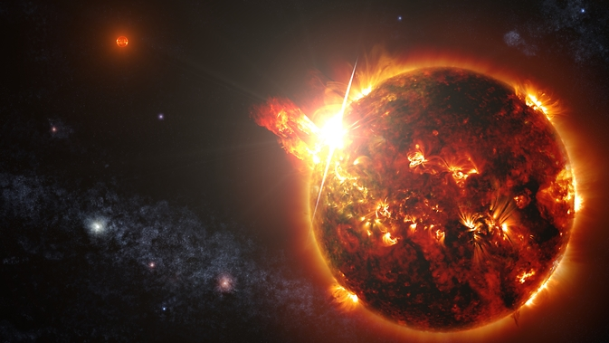DG CVn, a binary consisting of two red dwarf stars shown here in an artist's rendering, unleashed a series of powerful flares seen by NASA's Swift. At its peak, the initial flare was brighter in X-rays than the combined light from both stars at all wavelengths under typical conditions.