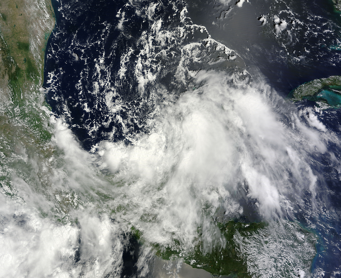 Terra satellite image from 1-Sep-2014 of low-pressure system that became Tropical Storm Dolly