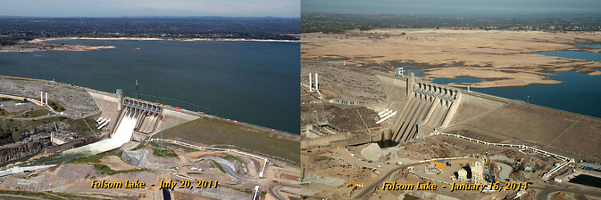 The severity of California's drought is seen in these images of Folsom Lake, northeast of Sacramento