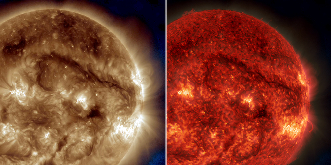These 2 SDO images show a dark snaking line, a filament of solar material, hovering above the sun's surface.