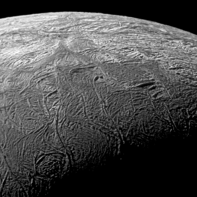 Close-up of fractures on Enceladus