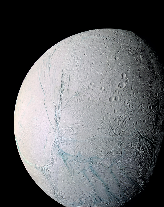 Cracks in Saturn's moon Enceladus