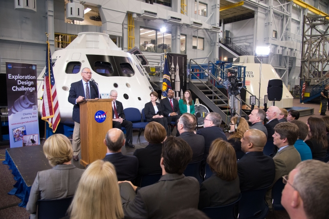 NASA Administrator Charles Bolden announced the Exploration Design Challenge from NASA's Johnson Space Center on March 11, 2013.