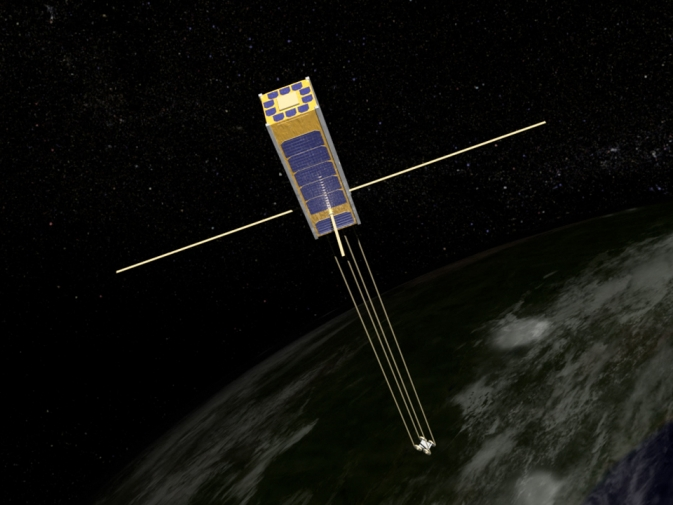 An artist's rendition of the football-sized Firefly satellite in low-Earth orbit