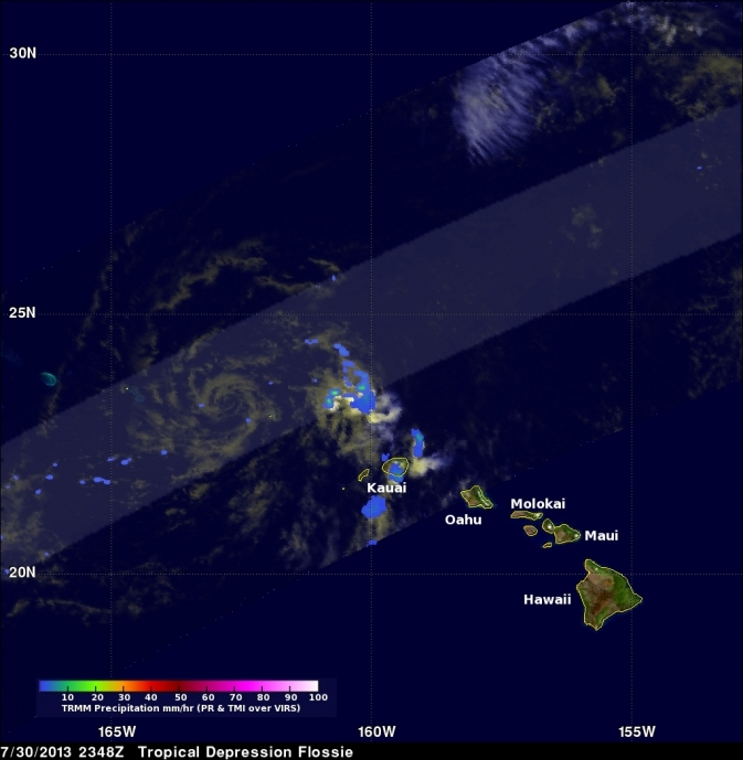 satellite image of Flossie remnants