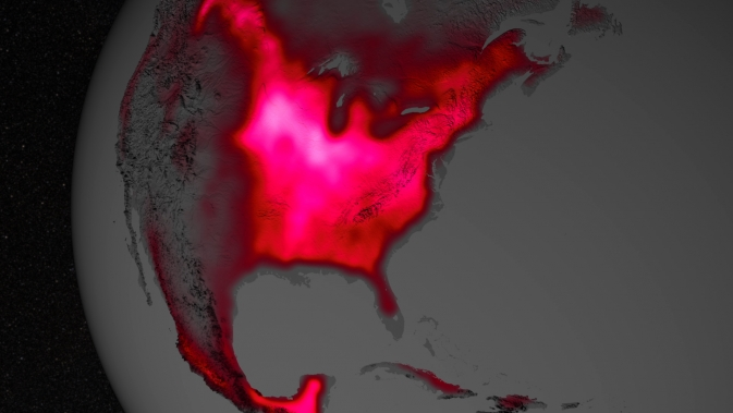 visualization depicting land plant fluorescence in North America