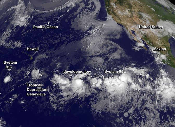 Four tropical depressions in a row seen by GOES-West
