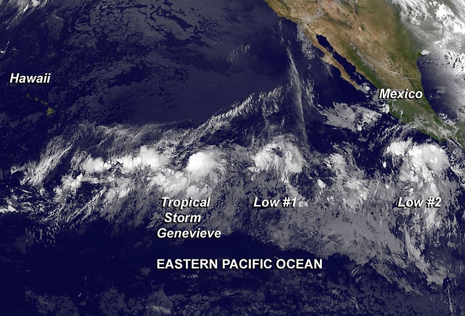 Genevieve and two other low systems off the coast of Mexico