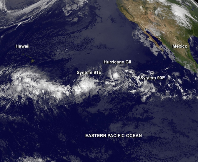 satellite image of Eastern Pacific storm systems