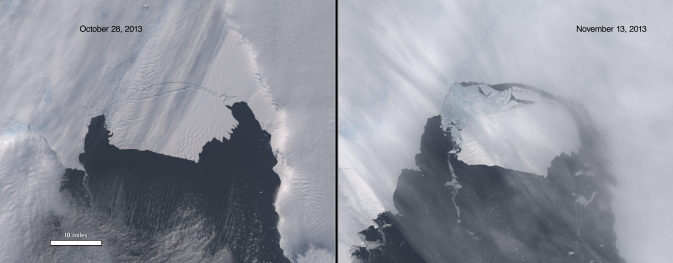 before/after showing gray glacier breaking off into dark sea