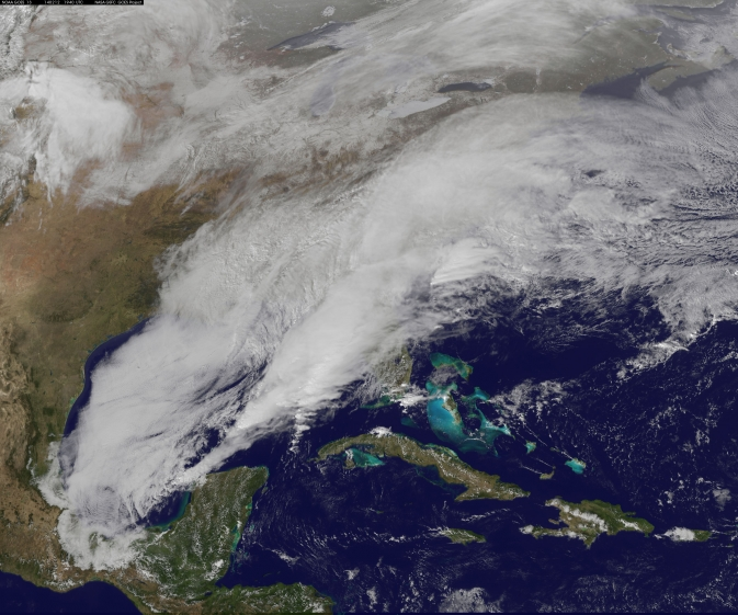 GOES satellite image of the Feb. 12, 2014 snowstorm