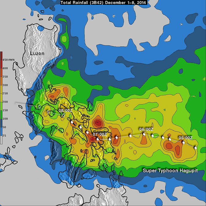TRMM's rainfall analysis from Hagupit