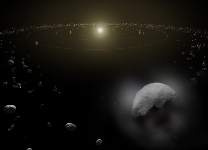 Dwarf planet Ceres is located in the main asteroid belt, between the orbits of Mars and Jupiter, as illustrated in this artist's conception. Observations by the Herschel space observatory between 2011 and 2013 find that the dwarf planet has a thin water vapor atmosphere.