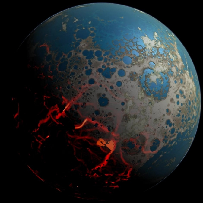 An artistic conception of the early Earth, showing a surface pummeled by large impact