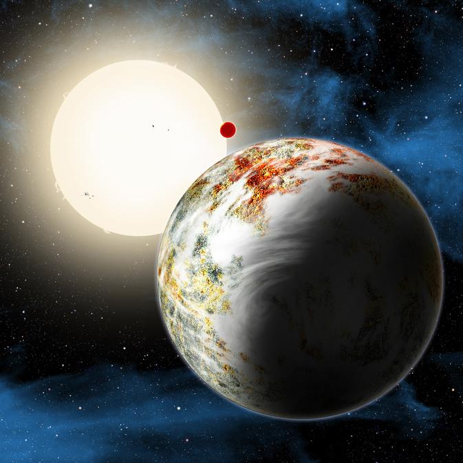 """Hình vẽ mô phỏng hệ hành tinh Kepler-10, ngôi nhà của 2 hành tinh đá. Trong hình là Kepler-10c, một hành tinh có khối lượng lớn gấp 17 lần Trái Đất và có kích thước gấp đôi hành tinh của chúng ta. Khám phá này đang thách thức các nhà khoa học nghiên cứu sự hình thành hành tinh giải đáp """"Làm thế nào một hành tinh như vậy có thể được hình thành?""""  Ảnh: Harvard-Smithsonian Center for Astrophysics/David Aguilar"""