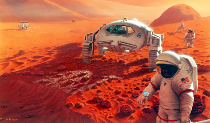 Artist's concept of astronauts on Mars