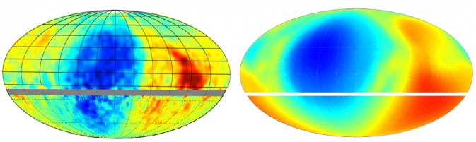 The magnetic fields in interstellar space proposed by IBEX, right, looks similar to what is actually observed, left.