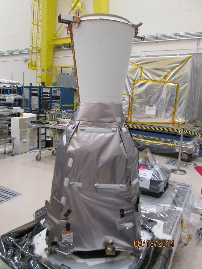 The GOES-R GLM Sensor Unit with thermal blankets and (non-flight) baffle installed.