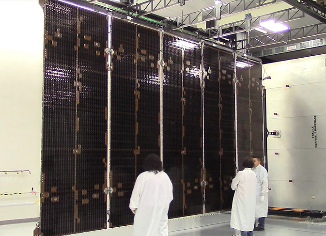 GOES-R satellite solar array in a Lockheed Martin clean room