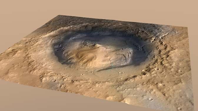 This oblique view of Mount Sharp, is derived from a combination of elevation and imaging data from three Mars orbiters.