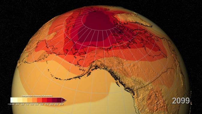 projection of Earth warming by 2099