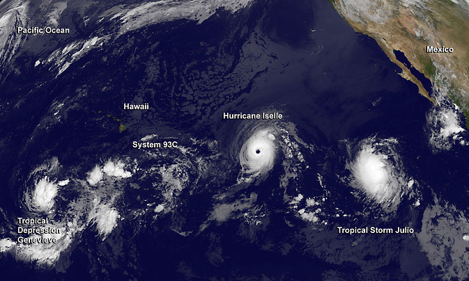 Image of all tropical storms in the Eastern Pacific