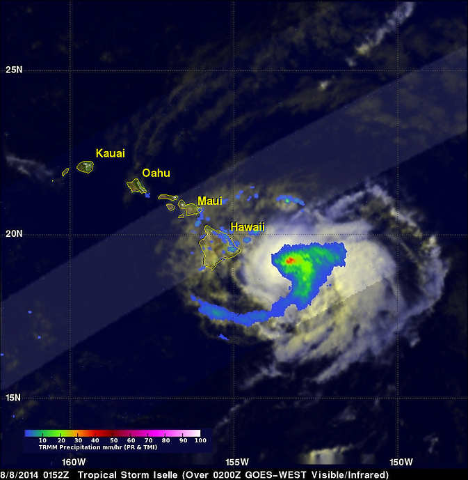 TRMM image of Iselle over Hawaii