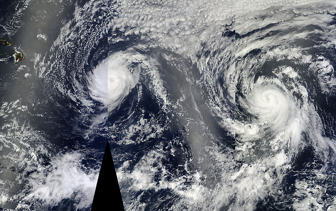 Iselle and Julio head towards Hawaii in this MODIS image