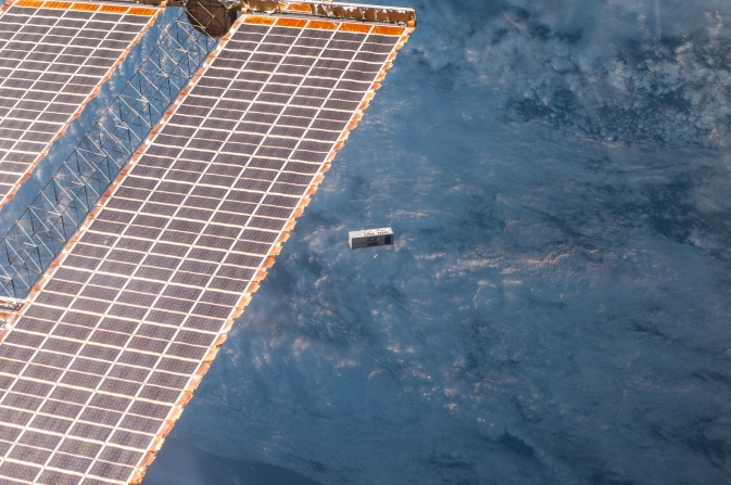 TechEdSat-3p deploys from the Japanese Small Satellite Orbital Deployer aboard the International Space Station.
