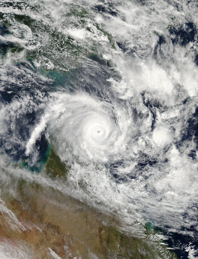 Aqua captured an image of the Category 4 storm on April 11 at 04:00 UTC/12:00 a.m. EDT. Satellite imagery indicates the eye is 8 nautical miles wide.